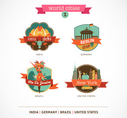 World Cities labels - Delhi, Berlin, Rio, New York