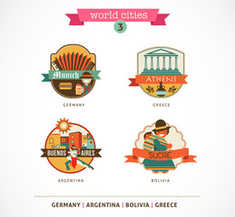World Cities labels - Sucre, Buenos Aires, Munich, Athens