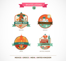 World Cities labels - Santorini, London, Agra, Mexico