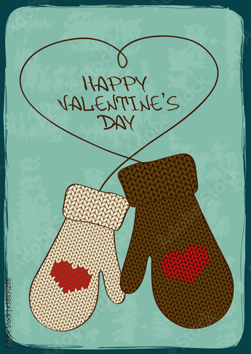 Valentine's card with knitted mittens