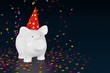 Piggy bank - party pig with confetti