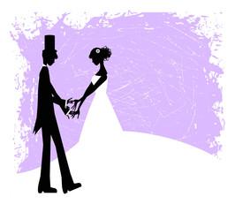 coppia di sposi vintage su fondo grunge