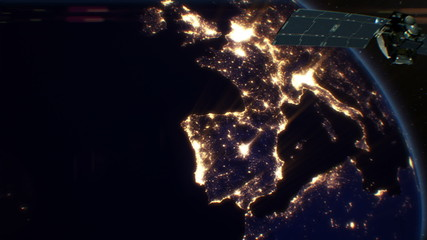 Satellite over Night Cities. Europe. HD 1080.