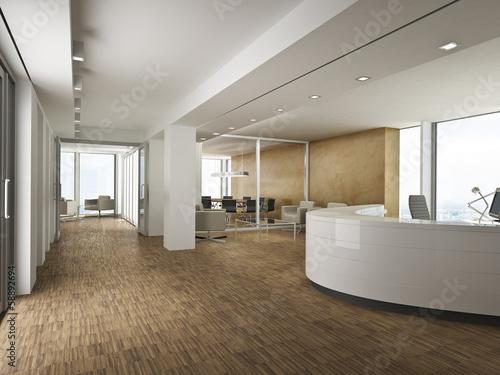 Bürofoyer mit goldener Wand - 58892694