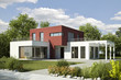 canvas print picture - Einfamilienhaus Villa modern weiss rot