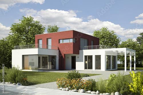 canvas print picture Einfamilienhaus Villa modern weiss rot