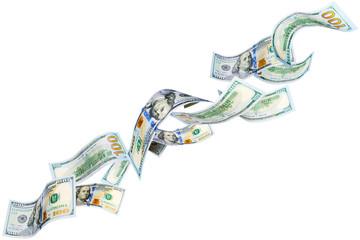 Flying New 100 dollar bills isolated on white