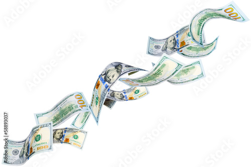 Flying New 100 dollar bills isolated on white
