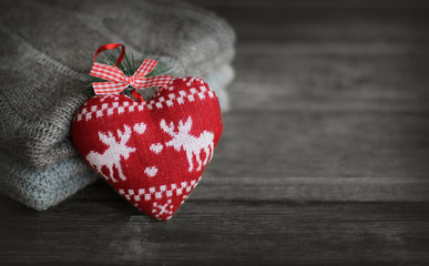 Christmas background with decorative heart