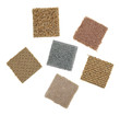 Smalls square carpet samples on a white background