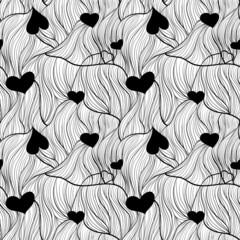 Бесшовный черно-белый фон с сердечками