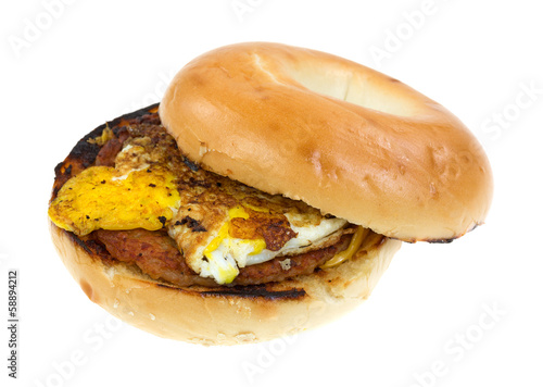 Breakfast bagel with sausage and egg