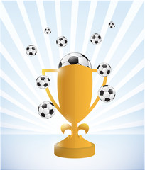 soccer trophy and balls illustration design