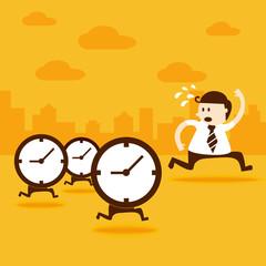 Business man run from the clocks