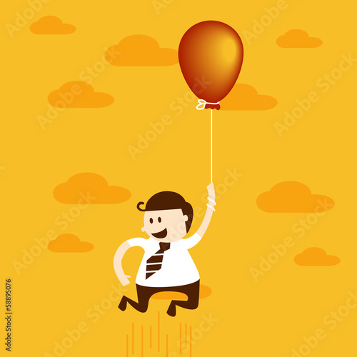 Business man flying with balloon