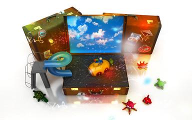 Viaggiare, valigie, agenzia viaggi, vacanze bambini giochi