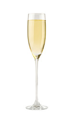 Champagne in a glass. Isolated on white background