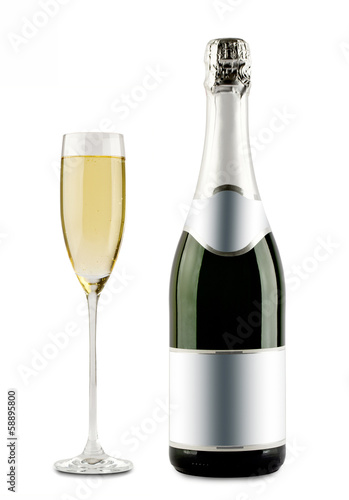 Champagne bottle and champagne glass