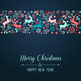 Fototapety Merry Christmas and Happy New Year greeting card