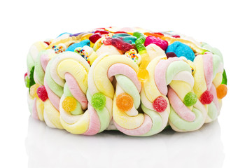 Jelly beans cake isolated on white background