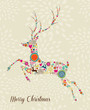 Merry Vintage christmas elements jumping reindeer