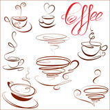 Set of coffee cups icons, symbols for restaurant or cafe menu.