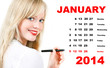 calendar for January 2013 with portrait of young woman