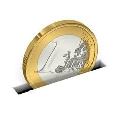 Eine Euro-Münze wird gespart