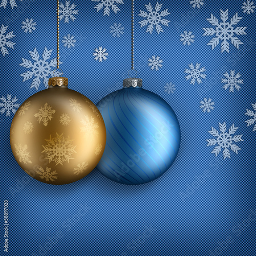 Christmas background - Gold and blue baubles