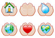 set 5 of environment icons with human hands
