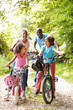 Grandparents With Grandchildren On Cycle Ride In Countryside