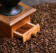 Close up of coffee grinder and grinded coffee