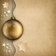 Christmas background - bauble, stars and blank space for text