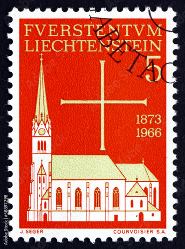 Postage stamp Liechtenstein 1966 Vaduz Parish Church