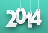 White tags with 2014 on green background