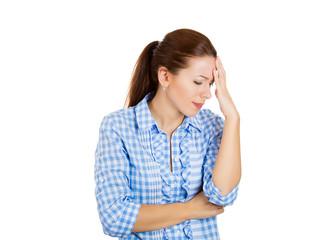 Sad, depressed, lonely woman having headache