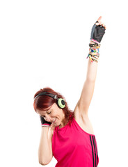 Young sport girl dancing over white background