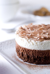 white and dark chocolate mousse layer cake.