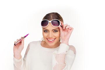 happy woman smoking e-cigarette