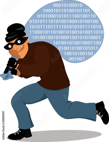 Cyber-thief carrying a sack full of computer data