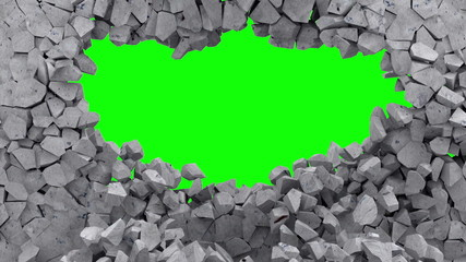 Animation of Grungy Broken Concrete Wall with Green Screen