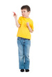 boy in yellow shirt writes marker