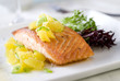 fresh salmon fillet with a juicy orange relish.