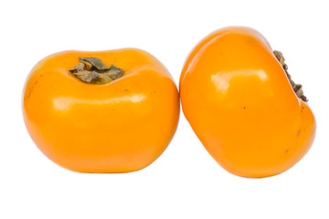 juicy persimmons isolated on white background
