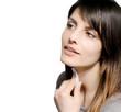 brunette girl cleansing skin face