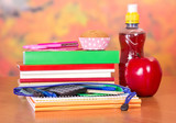 Set of school accessories and bottle with drink