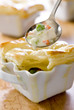 Closeup of little chicken pot pies.