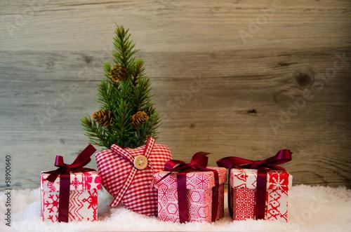 canvas print picture Weihnachten Advent Geschenke mit Herz