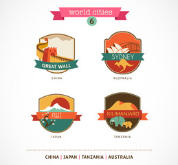 World Cities - Sydney, China, Fuji, Kilimanjaro