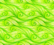 Green curled vector waves seamless pattern